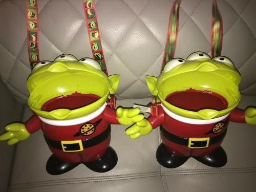 2pc Lot Disney Parks Toy Story Alien Christmas Popcorn Bucket Lot Very Cool L@@k