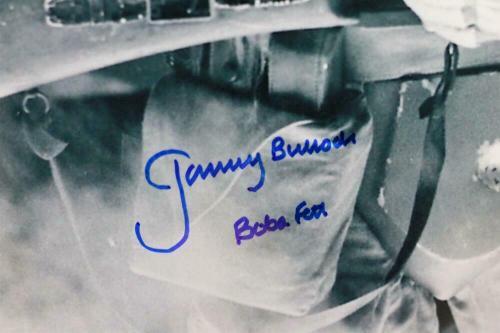 Jeremy Bulloch Signed Boba Fett 16x20 B&W Close Up Photo - JSA Auth *Blue