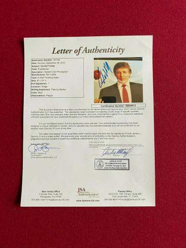 "Donald Trump, ""Autographed"" (JSA Letter) 8x10 Photo (Early Auto - 1980's) Scarce"
