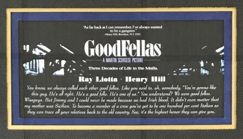 RAY LIOTTA (Henry Hill- Goodfellas) 8x10 custom framed display-JSA