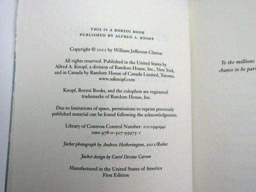 Bill Clinton 42nd President Signed Auto Back To Work 1st Ed. Hardcover Book Jsa