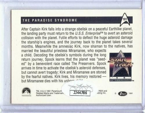 William Shatner Autographed Trading Card Star Trek 1991 #191 JSA JJ44786