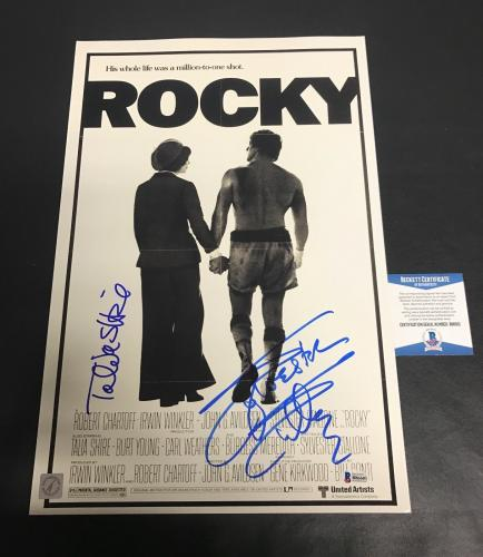 TALIA SHIRE SYLVESTER STALLONE SIGNED AUTO ROCKY FRAMED 12x18 POSTER BECKETT
