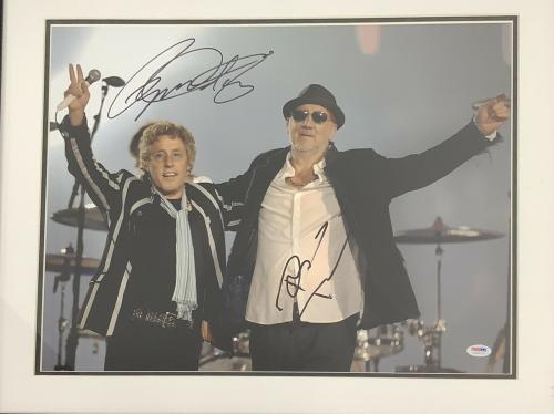 Pete Townshend Signed Photo 16x20 & Roger Daltrey Autograph The Who PSA Framed