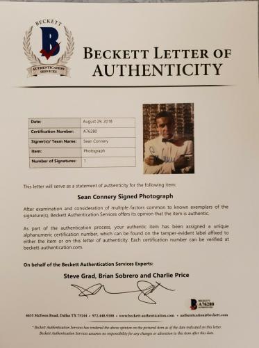 Sean Connery Signed Photo James Bond 007 Encapsulated Beckett Bas