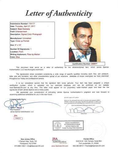 Sean Connery James Bond 007 Signed 8x10 Photo Autographed JSA #Z40577