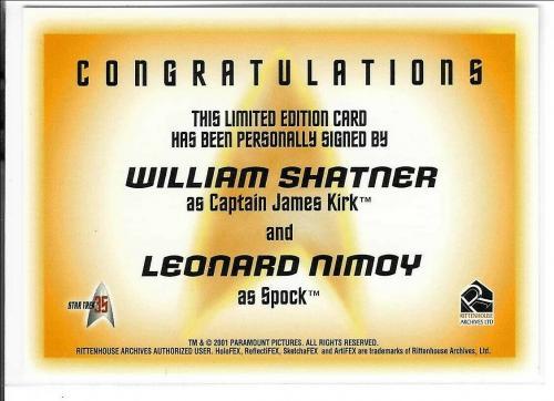 William Shatner & Leonard Nimoy 2001 Paramount Star Trek 35 Autograph Card