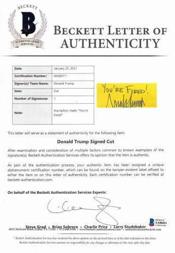 """Beckett Donald Trump Signed & Inscribed """"you're Fired!"""" Framed Photo Collage 011"""