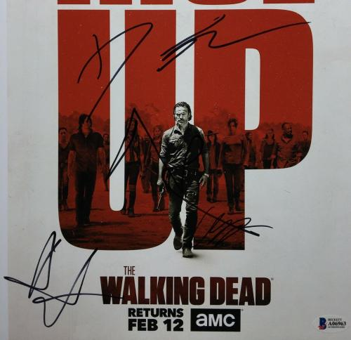 Danai Gurira Norman Reedus Andrew Lincoln Riggs Signed 11x14 Photo BAS A06963