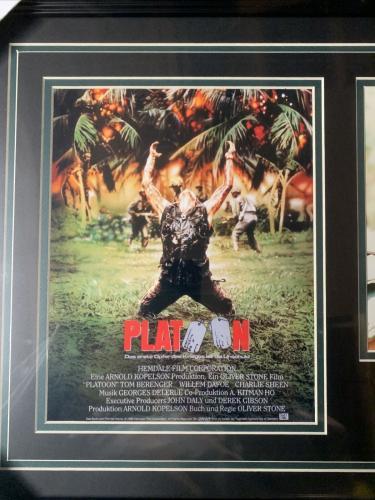 Tom Berengar Autograph Signed Platoon Ssgt Barnes 8x10 Movie Collage Framed JSA