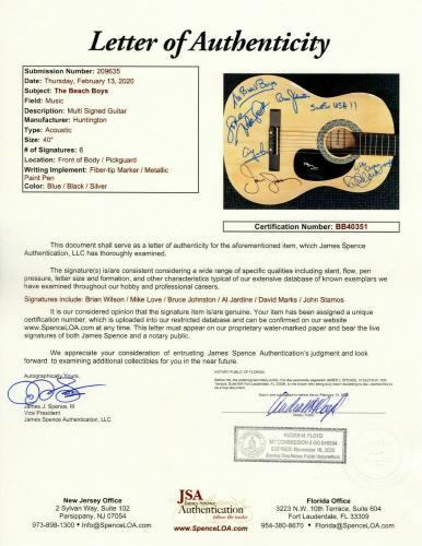 The Beach Boys Signed Autographed Guitar Mike Love Al Jardine Brian Wilson JSA