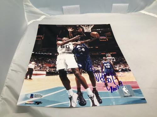 David Robinson Signed San Antonio Spurs 8x10 Photo Autograph Beckett BAS COA 1A