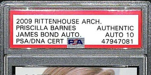 "2009 Rittenhouse PRISCILLA BARNES Signed ""James Bond"" 007 Card PSA/DNA Slabbed"