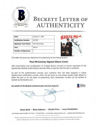 Paul McCartney Signed The Beatles' Hits 45 RPM Album Cover W/ Vinyl BAS #A57933