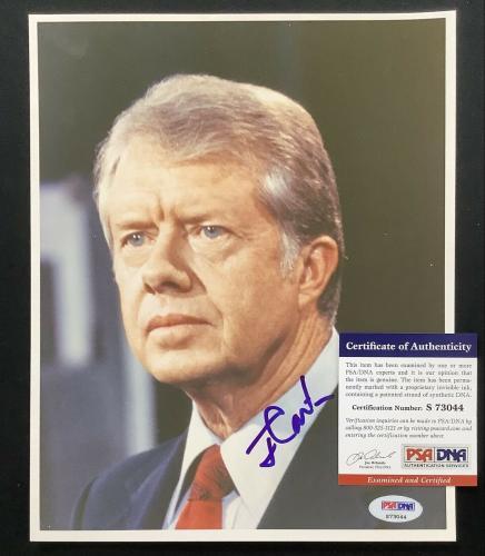 Jimmy Carter Signed Photo 8x10 President Democrat Georgia Blue Auto PSA/DNA 1