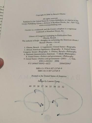 President Barack Obama Signed The Audacity Of Hope Book JSA LOA First 1st Ed.