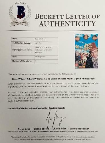 Gene Wilder + Willy Wonka Cast (3) signed 12x17 Photo 3 Autos A~ Beckett BAS COA