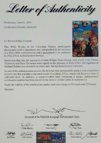 Gene Wilder + Willy Wonka Kids Cast (6) signed 12x17 Photo Movie Poster PSA COA