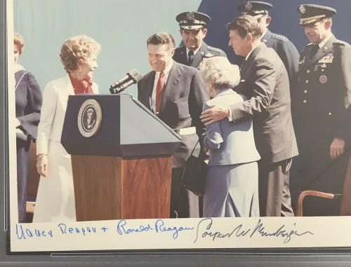 Ronald Reagan + Nancy Signed Photo 8x10 40th President C Weinberger Auto PSA/DNA