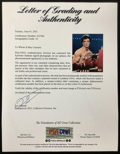 Sylvester Stallone Signed Photo 8x10 Actor Rocky Balboa LOA PSA/DNA Autograph 10