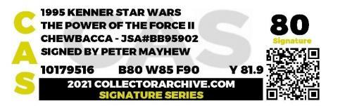 Star Wars POTF Chewbacca Action Figure signed Peter Mayhew GRADED CAS 80 JSA COA