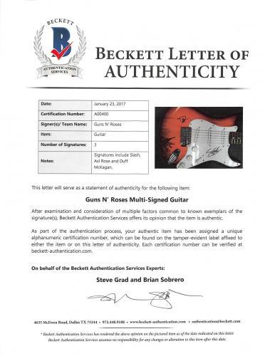 Guns N' Roses (3) Rose, Slash, McKagan Signed Red Fender Squier Guitar PSA/DNA