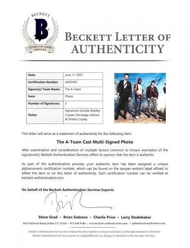 The A-Team (3) Bradley Cooper, Jackson & Copley Signed 12x18 Photo BAS #AA03493