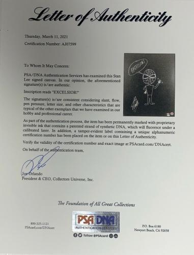 Stan Lee Signed & Sketched (Spider-man) Canvas Custom Framed PSA Full Letter
