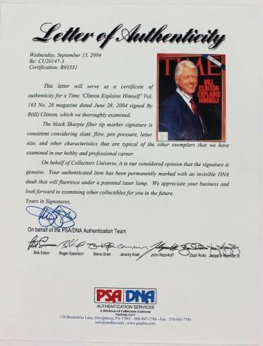 President Bill Clinton Signed 2004 Time Magazine PSA/DNA #B93551