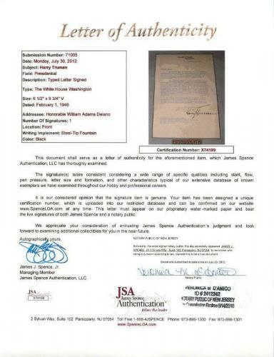 Harry Truman Signed 7.25X10 Letter (1946) On White House Letterhead JSA #X74189