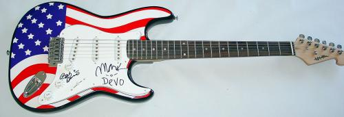 Devo Autographed Signed USA Flag Guitar PSA/DNA COA   AFTAL
