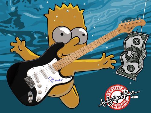 Matt Groening Autographed w/ Bart Simpson Art Sketch Guitar PSA AFTAL