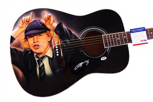 AC/DC Angus Young Autographed Airbrushed Ac/El Guitar PSA AFTAL