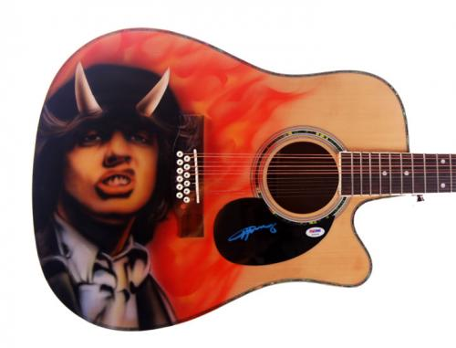 Angus Young ACDC Autographed Signed 12-String Guitar PSA DNA AFTAL