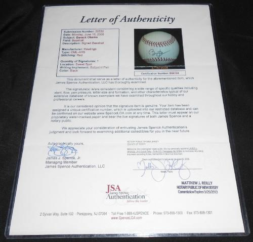President Barack Obama Signed Official Major League Baseball, Jsa Coa!!