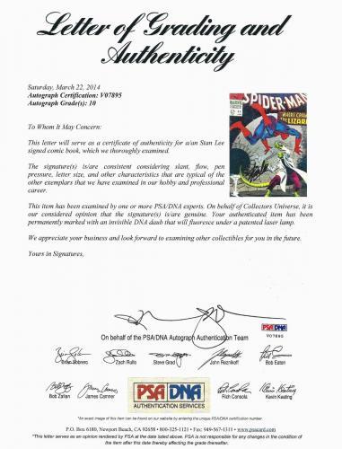 Stan Lee Hand Signed Spiderman #44 Comic Book Psa/dna Graded Gem Mint 10! V07895