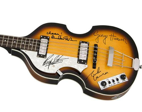 The Beatles Facsimile Signature   Lhanded Hofner Bass Guitar Lennon Mccartney