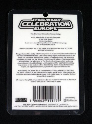 Lot of (10) 2007 Star Wars Celebration Europe Adult Fri Badge ^ Luke Skywalker