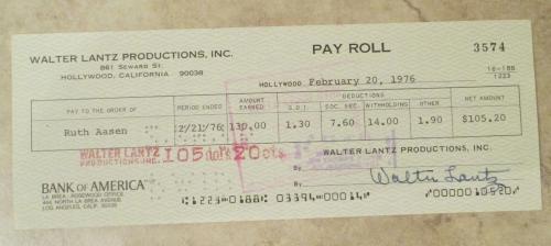 Walter Lantz Signed Check Woody Woodpecker Cartoonist, Guaranteed to pass Psa!!