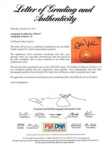 Eddie Vedder Signed Pearl Jam Cd W/ Graded 10 Autograph! PSA #W06167