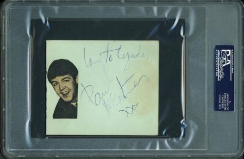 John Lennon & Paul Mccartney Signed 4X4.75 Album Page PSA/DNA Slabbed