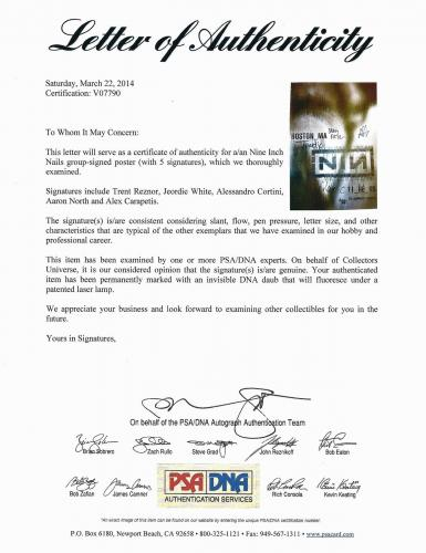 Nine Inch Nails Band Signed 11_08_05 Boston, Ma Tour Poster Psa/dna Loa V07790