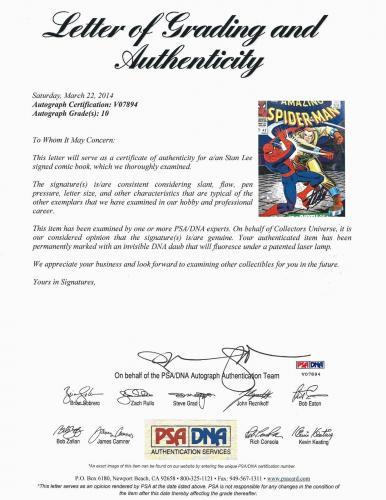 Stan Lee Hand Signed Spiderman #42 Comic Book Psa/dna Graded Gem Mint 10! V07984