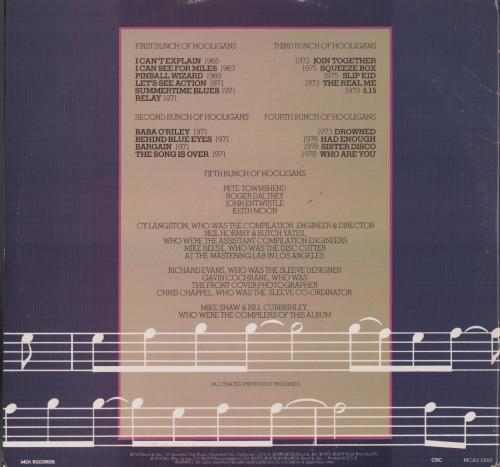 Pete Townshend The Who Signed Hooligans Record Album Psa Coa I39017