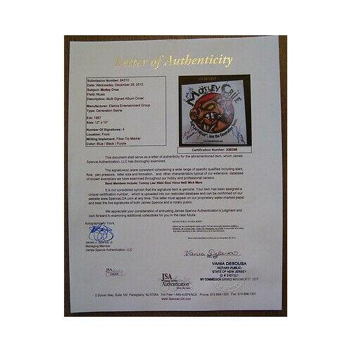 Motley Crue Signed Album Promo by all 4 - Lee / Sixx / Neil / Mars - JSA