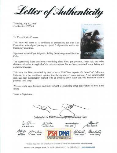 The Possession Cast (3) Sedgwick, Morgan & Calis Signed 12x18 Photo PSA #Z03369