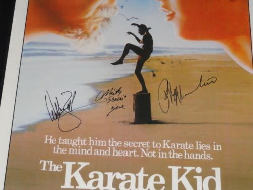 Ralph Macchio William Zabka Martin Kove Signed The Karate Kid 27x40 Movie Poster