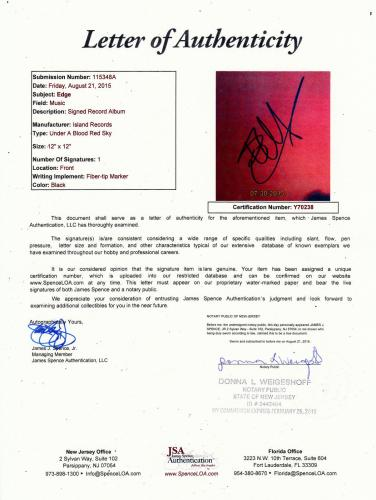The Edge Signed Under A Blood Red Sky U2 record album cover W/JSA Letter