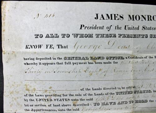 James Monroe Signed 9x14 1824 Land Grant Document PSA/DNA #Z05383