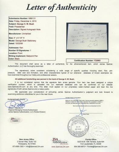 George H W Bush Signed Autographed Handwritten Letter Note Jsa Coa Spence Wow!!!